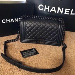 CHANEL Black Medium Boy Caviar Bag